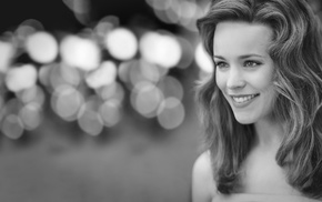 lips, eyes, long hair, monochrome, Rachel McAdams, smiling