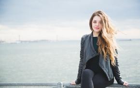 girl outdoors, model, sitting
