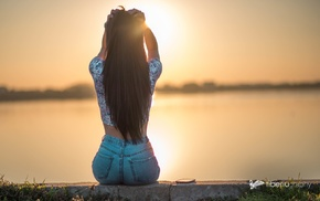water, girl, back, jeans, sunset, hands on head