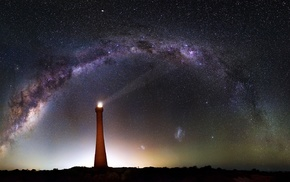 night sky, lighthouse, galaxy, Australia, Milky Way, stars