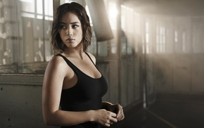 looking away, actress, brunette, daisy johnson, celebrity, tank top