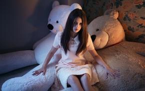 model, girl, teddy bears, Karina Kasparyants
