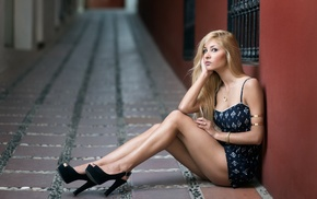 blonde, sitting, model, girl, high heels