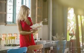 blonde, summer, reading, red dress, Lelyak Konstantin, girl