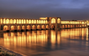 lights, Islamic architecture, Iran, night, river, architecture