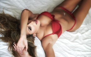 red lingerie, lingerie, in bed, red panties, cleavage, the gap