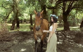 model, girl, animals, horse