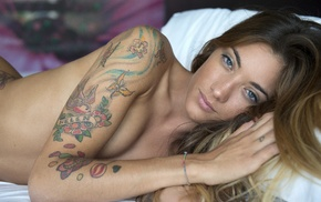 girl, tattoo, model, looking at viewer