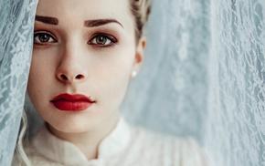 face, girl, portrait, model, red lipstick