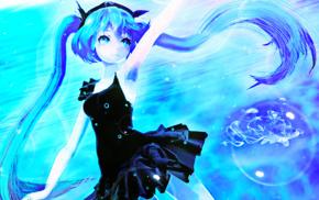 long hair, aqua eyes, Vocaloid, aqua hair, Hatsune Miku, anime