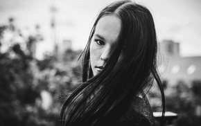 monochrome, long hair, girl, face, hair in face
