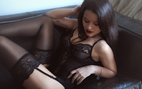lingerie, garter belt, girl, lace, black lingerie, brunette