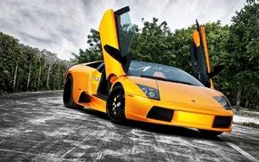 yellow, car, Lamborghini, black, dark, Lamborghini Murcielago LP650