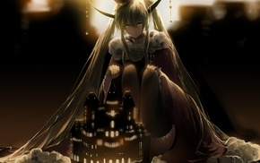 crown, dress, Vocaloid, jewelry, thigh, highs