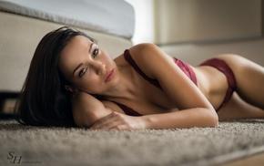 sideboob, lying on side, Stephan Hainzl, red bra, on the floor, cleavage