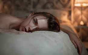 Georgy Chernyadyev, face, Victoria Vishnevetskaya, in bed, lying on front, girl