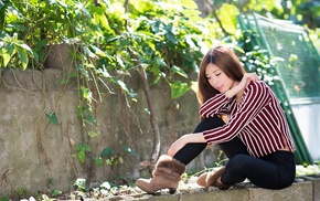 girl, depth of field, sitting, closed eyes, model, Asian