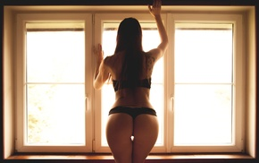 the gap, girl, back, black lingerie, ass, window