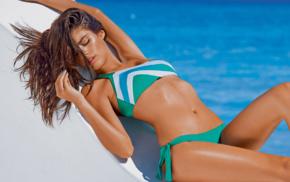 arched back, lying on back, bikini, model, swimwear, brunette