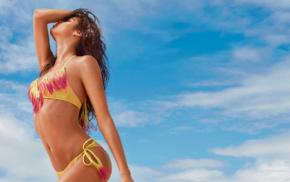 model, bikini, brunette, girl outdoors, sensual gaze, Sara Sampaio