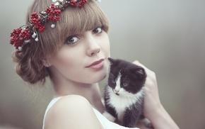 animals, kittens, girl, cat, looking at viewer, baby animals