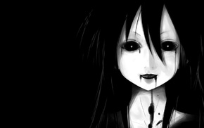 dark, anime girls, anime, black background, face