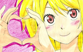 pink background, heart, Fairy Tail, blonde, anime girls, Heartfilia Lucy