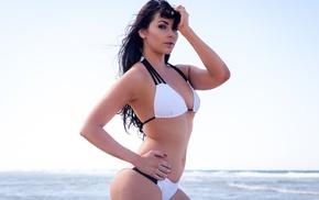 model, sea, portrait, sky, white bikini, girl