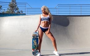urban, girl outdoors, girl, skateboard, thong, long hair