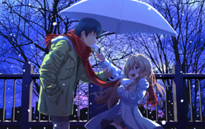 umbrella, anime boys, snow, anime, anime girls, Aisaka Taiga