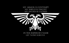 artwork, black background, text, Imperial Aquila, simple background, Warhammer 40