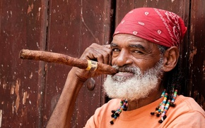 cigars, looking at viewer, old people, Cuba